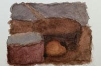vie silencieuse, aquarelle, 2005, 28 x38 cm