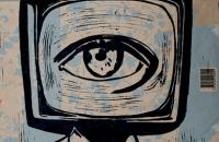 La télé commande, gravure sur bois