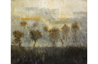 paysage, arbustes, soleil couchant 12F 50X6cm