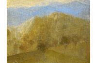 paysage arbres et montagne Drôme 5F 27X35cm
