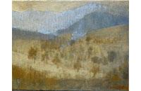 paysage, verger et montagne 5F 27X35cm