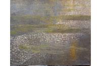 paysage, rivière la Loue avec renoncules aquatiques et reflets soleil 80F 114X146cm
