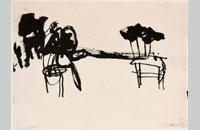 Francine Simonin, Les chaises, 1988, encre, 55.5 x76 cm