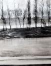 """""""La rivière"""", encre et fusain, 50x70cm, 2017"""