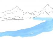 Glacier du Theodul, aquarelle et encre de Chine, 2018