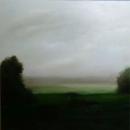 Champ sous la pluie, huile sur toile, 100 x 100 cm, 2017