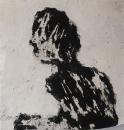 Monotype, technique mixte sur papier, 33 x 33 cm