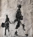 Monotype,, technique mixte sur papier, 62 x 56 cm
