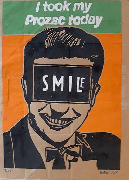 Smile, gravure sur papier industriel, 2018, 68x 50 cm
