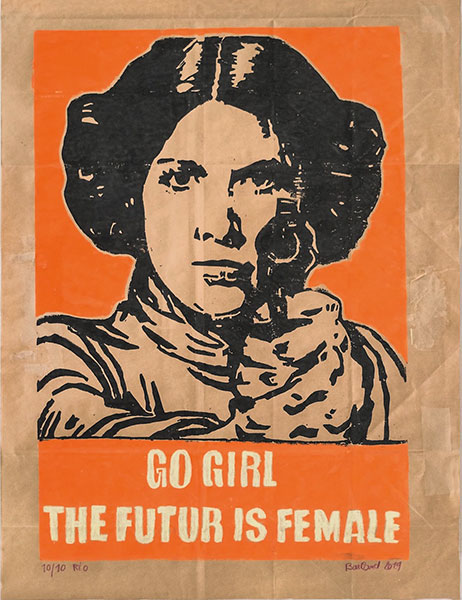 Go girl the future is female, 2019, gravure sur papier industriel, 68x 50 cm