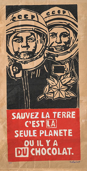Sauvez la terre, 2019, gravure sur papier industriel, 99x 50 cm