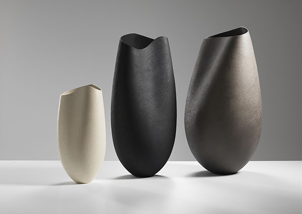 Three vessels with undulating rims- tallest 65 cms, ceramics, handbuilt-2018 © Michael Harvey