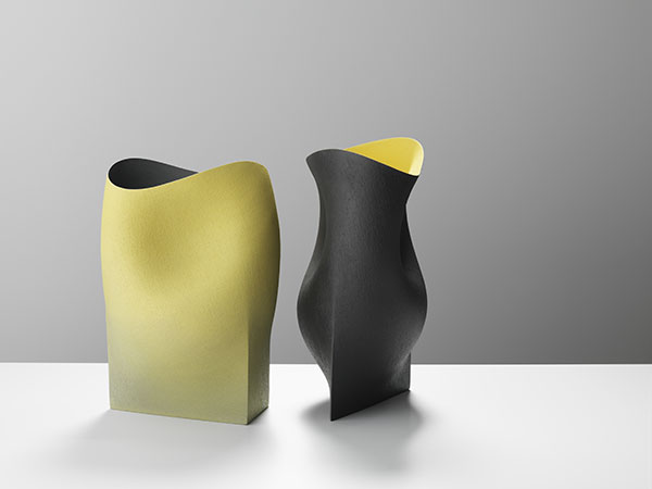 Two Undulating vessels with triangular bases- 44cms Hgt, ceramics, handbuilt-2018 © Michael Harvey