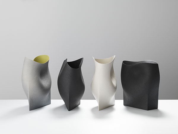 Group of undulating vessels with geometric bases- 38cms Hgt, ceramics, handbuuilt-2018 © Michael Harvey