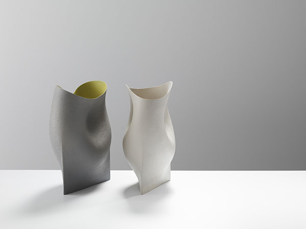 Two undulating vessels with triangular bases- 38cmsHgt, ceramics, handbuilt-2018 © Michael Harvey