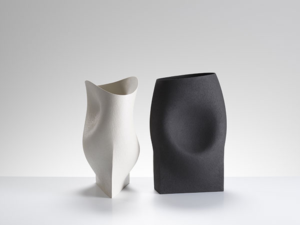 Two vessels with triangular and rectangular bases-42 cms Hgt, ceramics, handbuilt-2018 © Michael Harvey