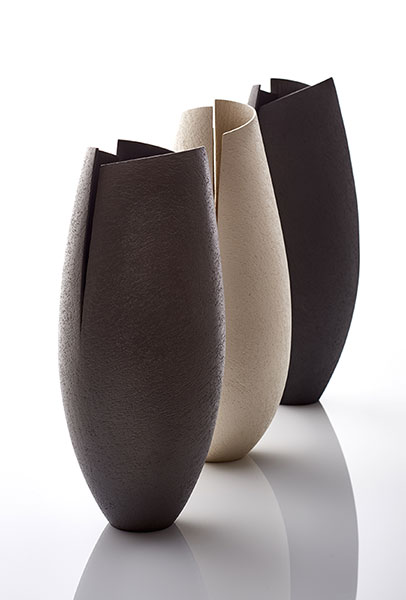 Three cut and altered vessels, 44 cms Hgt- ceramics, handbuilt,2017 © Sylvain Deleu