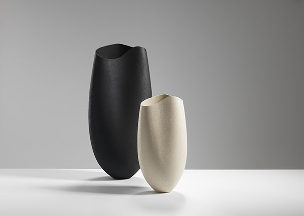 Two vessels with undulating rims-60& 40 cms Hgt, ceramics, handbuilt-2018 © Michael Harvey