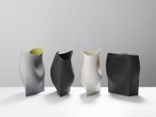 Group of undulating vessels with geometric bases- 38cms Hgt, ceramics, handbuuilt-2018 © Michael Harvey