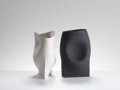 Two vessels with triangular and rectangular bases-42 cms Hgt, ceramics, handbuilt-2018 © Michael Harvey