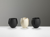 Three cut and altered bowls, 22cms Hgt- ceramics, handbuilt,2018 © Michael Harvey