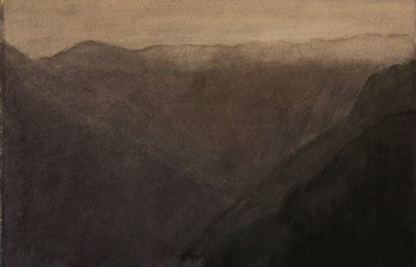 Vallée, soir (II) - aquarelle sur papier, 19 x 28 cm, 2018