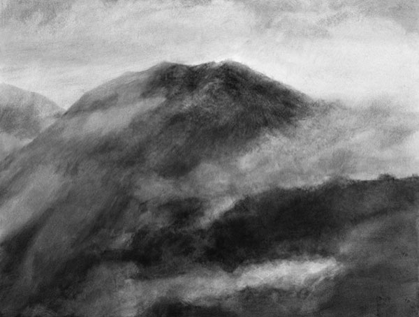 Pluie (IV) - gouache sur papier marouflé sur toile, 86 x 113 cm, 2017