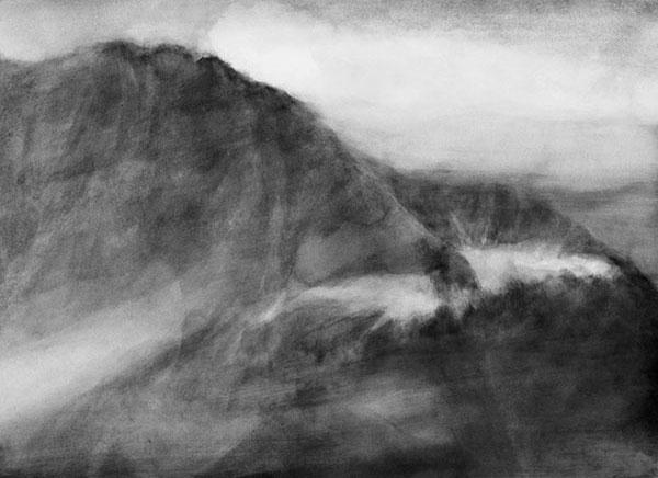 Versant, lumière, gouache sur papier, 86 x 113 cm, 2018