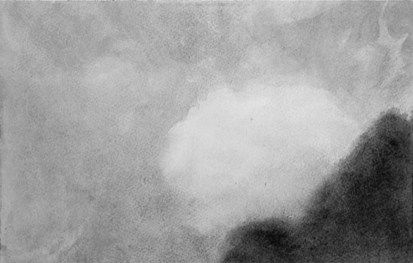 Vide, nuage - gouache sur papier 19 x 28 cm, 2018