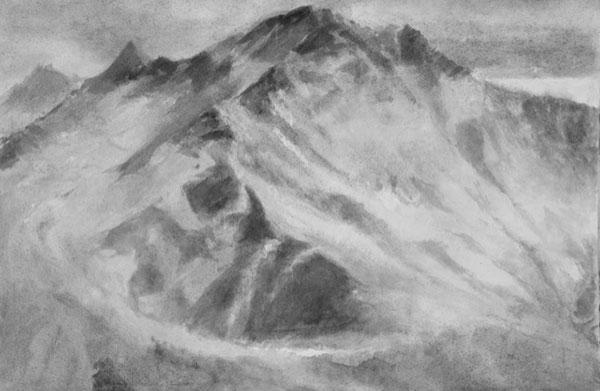Massif, mouvement - gouache sur papier 38 x 56 cm, 2018