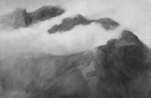 Massif, enveloppement - gouache sur papier 38 x 56 cm, 2018