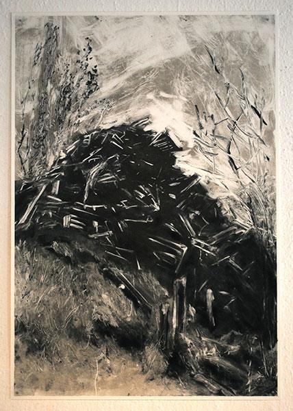 Sans titre, 2019, monotype sur papier, 54,5 x 37,5 cm