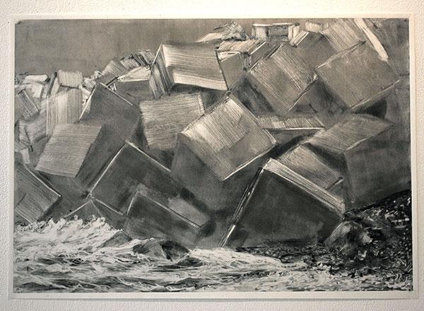 Sans titre, 2019, monotype sur papier, 37,5 x 54 ,5cm