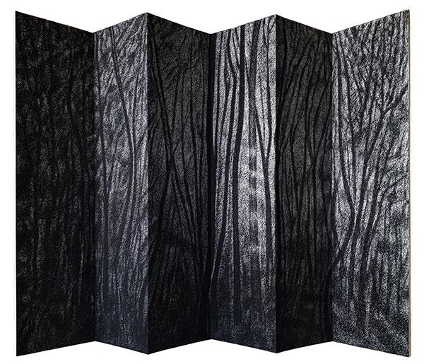Leporello, fusain comprimé , 2018, 75X110 cm