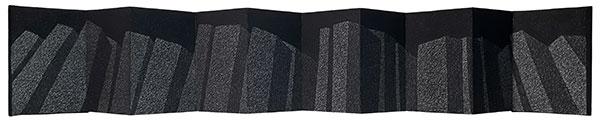 Leporello, fusain comprimé sur papier, 2018,15X96,5 cm