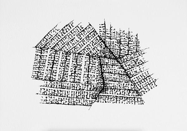 Fragments, encre sur papier, 2019, 58 x 40 cm