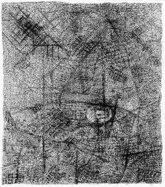 Zaki, monotype et fusain sur papier , 2019