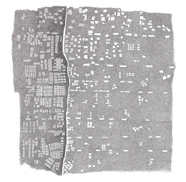 Zaatari, encre sur papier, 2019, 70×70 cm