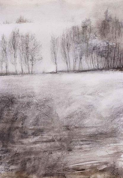 Le brouillard, encre et fusain