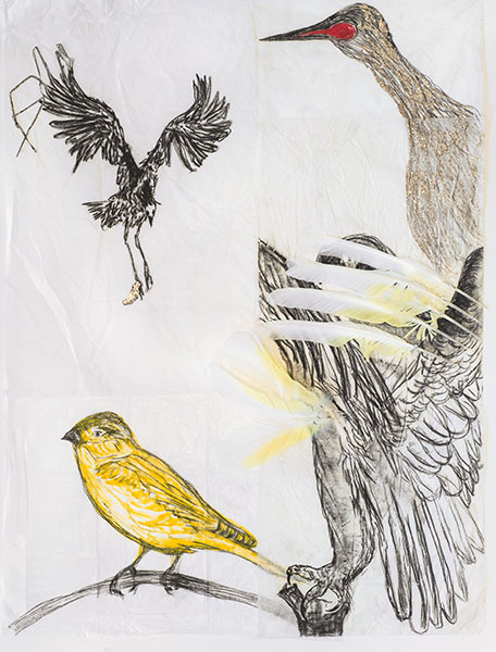 Arrangements 1 (détail). Technique mixte, papier de soie, crayon, pastel gras, paillettes, rouge à lèvres, plumes, épingles. 2018. 62X80cm