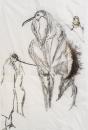 Arrangements 2 (détail). Technique mixte, papier de soie, crayon, pastel gras, paillettes, rouge à lèvres, plumes, épingles. 2018. 62X80cm