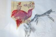 """""""Arrangements (envol)"""", 2018, Technique mixte, papier de soie, crayon, pastel gras, paillettes, rouge à lèvres, plumes, épingles.65X70cm"""