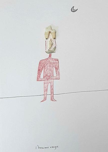Homme rouge, 2003, collage et dessin, 21 x 15 cm