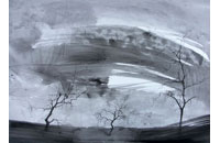 « Paysage aux 3 arbres» gouache sur papier, 42 x 53 cm, 2006