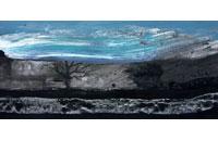 « Paysage au ciel bleu » gouache sur papier, 16 x 53 cm, 2006