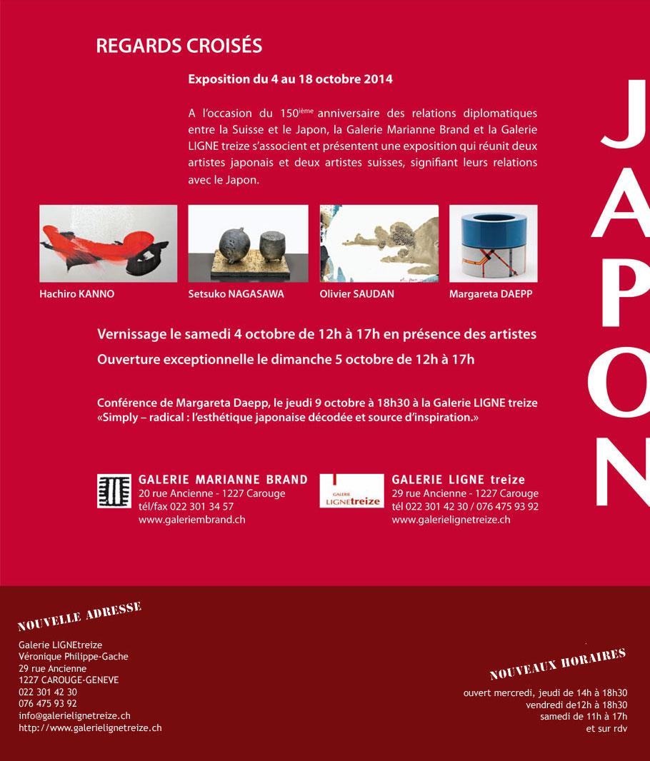 Exposition à la galerie Ligne 13 - JAPON - Hachiro KANNO, Setsuko NAGASAWA, Olivier SAUDAN, Margareta DAEPP