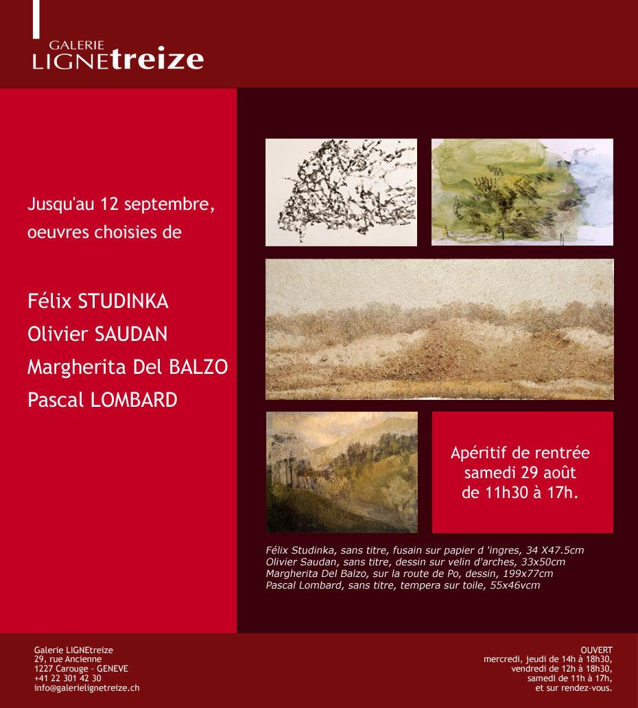 Exposition à la galerie Ligne 13 - Jusqu'au 12 septembre, oeuvres choisies de Félix Studinka, Olivier Saudan, Margherita Del Bazo, Pascal Lombard